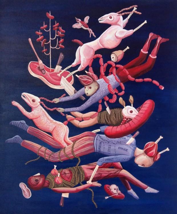 La viande, technique acrylique sur toile, format 46 x 55 cms.