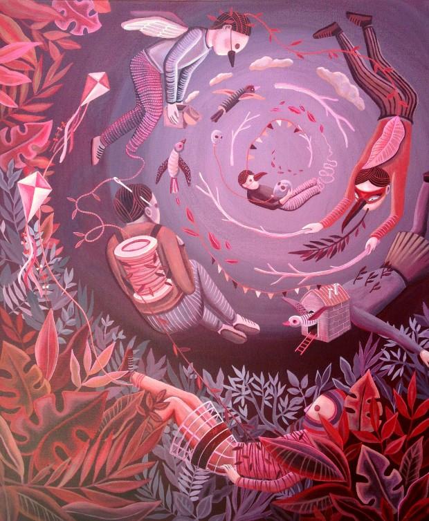 """""""Rose"""", technique acrylique sur toile de 46 x 55 cms."""