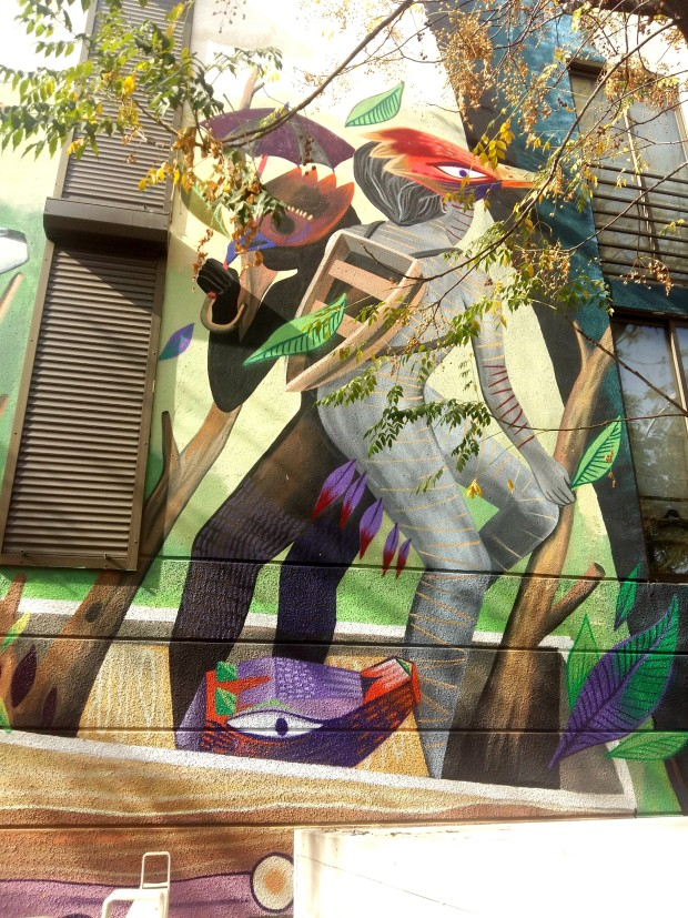 """Fragment de fresque pour le Festival du """"Barrio Yungay"""", réalisée à Santiago du Chili en mai 2018. Format 16 x 8 mètres."""