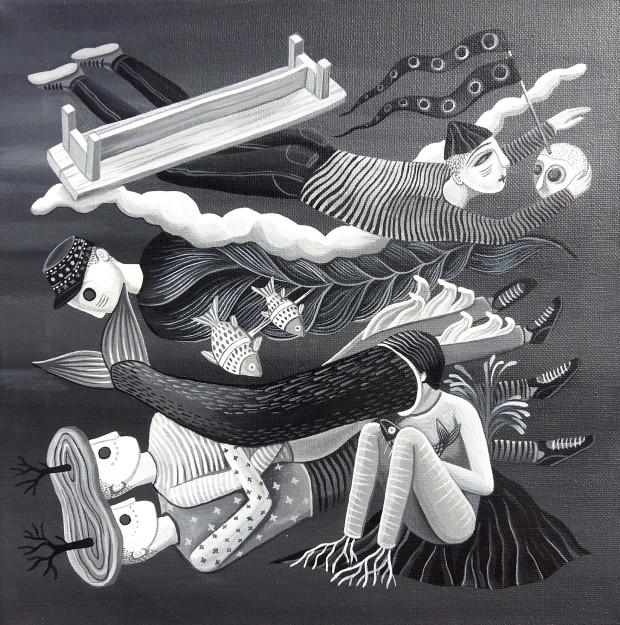 """""""Courants gris"""", technique acrylique sur toile, mini format de 30 x 30 cms."""