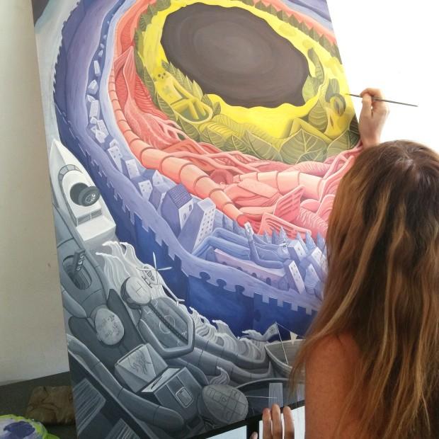 Métapolis, technique acrylique sur toile, 80x120 cms.