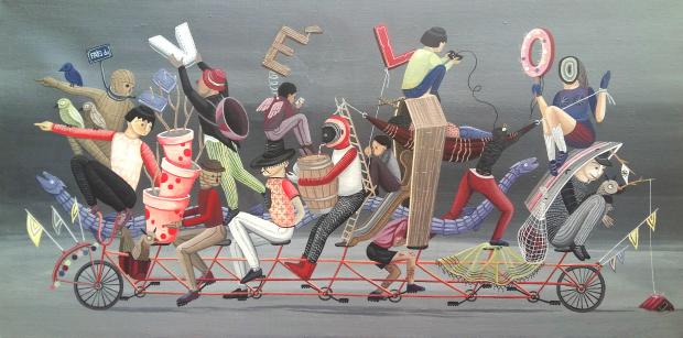 Fait du vélo, tandem. Technique acrylique sur toile, format 40 x 80 cms.